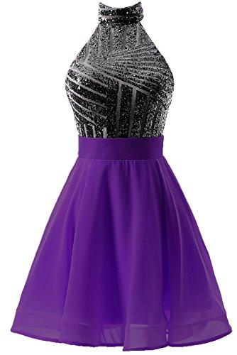 Homecoming DYS Black Party Dress Short Backless Purple Juniors Dress Prom Women's for Halter qwaaZO0