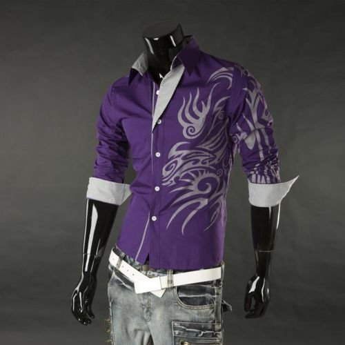 SODIAL(R) Cool Hommes Europ¨¦enne Dominatrice Dragon Conception Chemise Mince Fit Attrayante Chemise Violet Taille XXXL