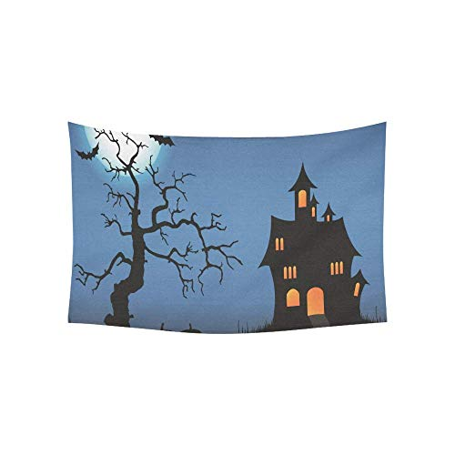Sandayun88x Tapestry Halloween Pimpkin Castle Full Moon Bat Dead Tree Tapestries Wall Hanging Flower Psychedelic Tapestry Wall Hanging Indian Dorm Decor for Living Room Bedroom 80 X 60 Inch ()