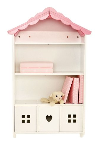 Wooden Wall Shelves In Pink Doll House Design