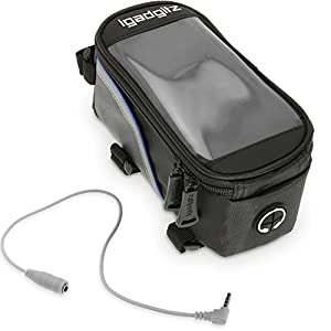igadgitz Large Black Reflective Strip Water Resistant Front Top Tube Pannier Bike Frame Storage Bag with Samsung Galaxy Smartphone Holder