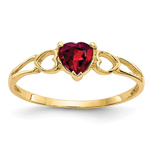 14K Yellow Gold Polished Heart Rhodalite Garnet June Stone Ring Size 7 ()