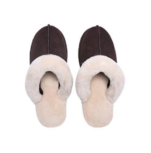 Genuine yanxuan Autumn Slippers Coffee Winter Sheepskin Ibanse Leather Women 6qXSgP