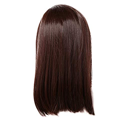 Medium Long Dark Brown Straight Hair Ladies Wig,Medium Long Wigs for Black Women Party,Cosplay Or Daily Use ()