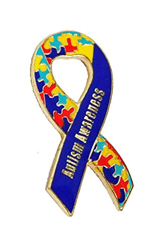 Autism Awareness Ribbon Puzzle Heart Lapel Hat Pins Raise Awareness PPM7003 (1 pin) Autism Ribbon Pin