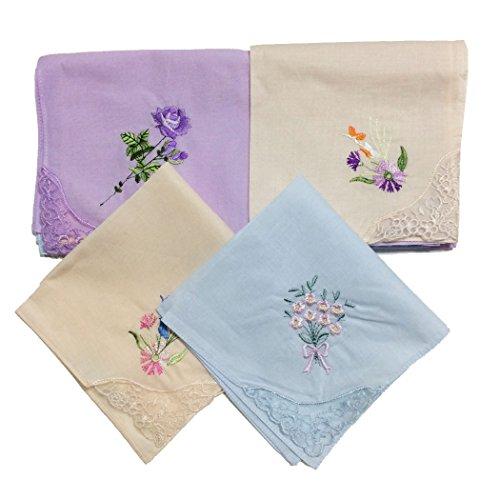 Owm Handkerchief Dozen Cotton Embroidered Ladies Lace Handkerchiefs Pack  Pack Of 6