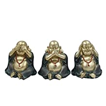 DharmaObjects Lucky Wise See Hear Speak No Evil Buddha Sculptures Eastern Asian Art Decor Statue
