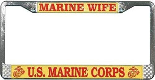 Sports Addicts U.S. Marine Wife License Plate Frame Free Screw Caps Included