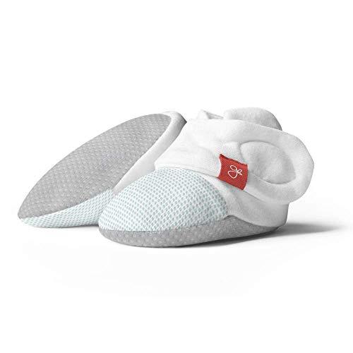 goumikids Baby Booties, Adjustable, Soft & Secure (Drops/Aqua, 6-12 Months)