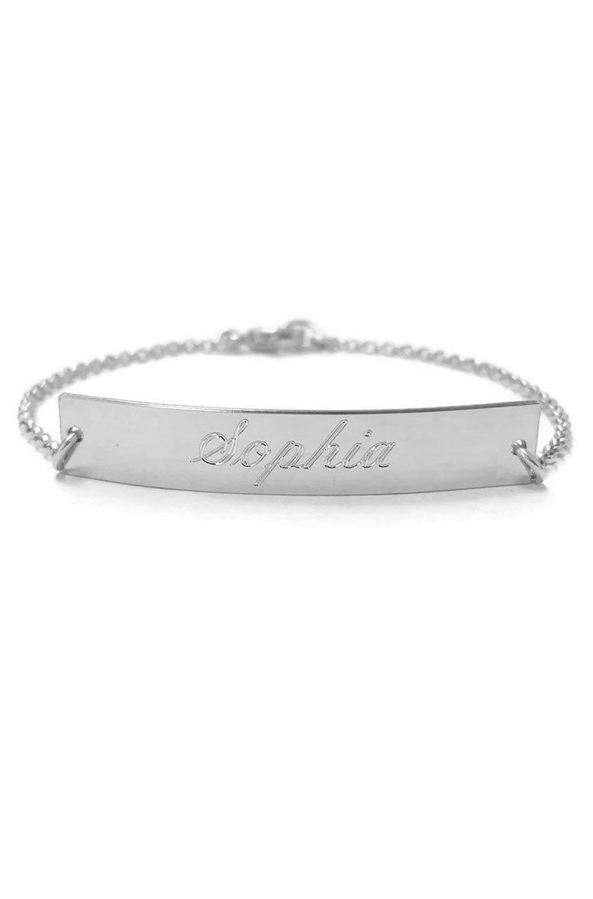 4de949e88f4bd2 Amazon.com: Engraved nameplate bracelet, personalized bracelet, sterling  silver, 14k gold vermeil: Handmade