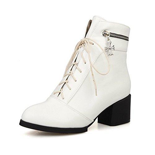 Allhqfashion Women's Blend Materials Round Toe Kitten-Heels Solid Boots Beige WkTcf9OBoX