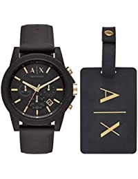 Armani Exchange Men's Black Silicone Watch and Luggage Tag Gift Set AX7105
