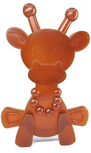 Amber Teething Toy - Little Bamber is a Natural Amber and Rubber Giraffe Teething Toy for Natural Teething Pain Relief - Comforting Texture Teething Toy for Sore Gums - Teething Necklace Alternative