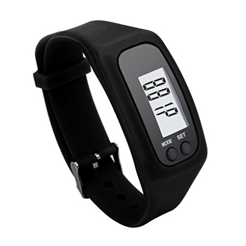 Perman Durable Digital LCD Pedometer Run Step Walking Distance Calorie Counter Watch Bracelet (Black )