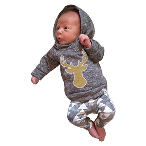 Outfits Clothes Set MITIY Baby Boy Girl Deer Hooded Tops+Pants Newborn-2Y (Gray, 6M)