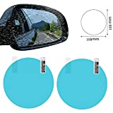 Automotive rearview mirror waterproof film Anti-fog Protective Film HD Rear View Mirror Window Clear Nano Film Anti-Glare Screen Protector Auto Back Mirror Water-removal Paste 2 Pack (Circle)