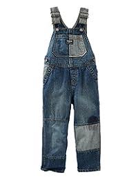 Oshkosh Boys' Patchwork Denim Overalls - Tumbled Medium Wash; (6M)