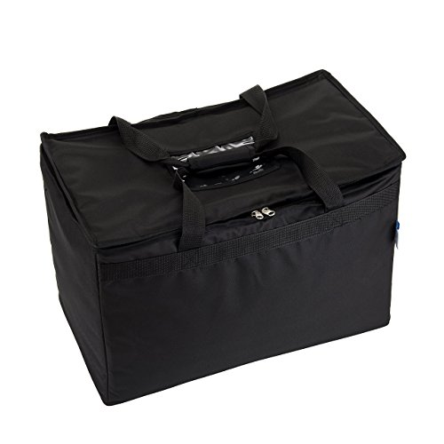 """Commercial Quality Insulated Food Delivery Bag- Large 23"""" x 13"""" x 15'', Thick Thermal Insulation, Extra Strength Zippers, by HicksCoolers (Black) by HicksCoolers (Image #2)"""