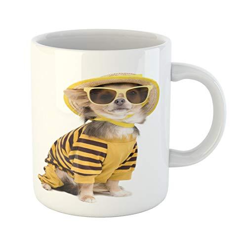 Semtomn Funny Coffee Mug Yellow Dog Chihuahua Dressed