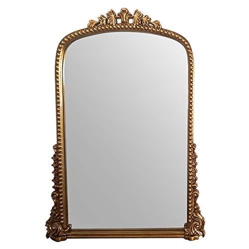 RMXMY Retro Lujo Noble Ambiente Piso Tallado Espejo Dormitorio Sala de Estar decoración de la Pared Cuarto de baño Completo...