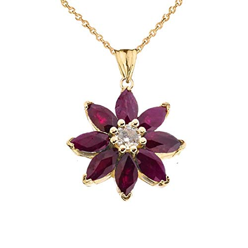 Exotic 14k Yellow Gold Daisy Diamond and Ruby Flower Pendant Necklace, -