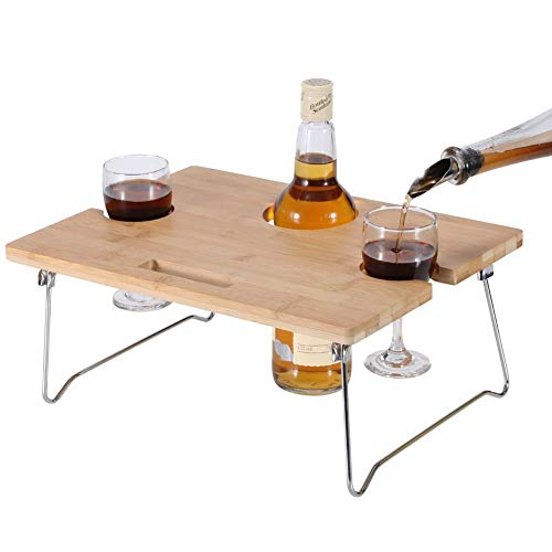INNOSTAGE Portable and Foldable Wine and Snack Table for Picnic Outdoor on The Beach Park or Indoor Bed-2 Positions (Renewed)