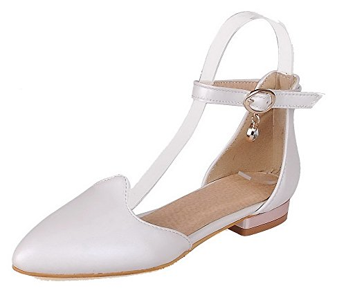 Low Toe Pointed 40 Women's Pumps PU Odomolor Buckle Shoes White Solid Heels pfTTq5