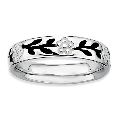 Black White Enamel Rhodium Ring - Sterling Silver Stackable Ring Solid Polished Enamel Black White Rhodium 4.5 mm 4.5 mm Stackable Expressions Enameled Flower Ring