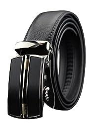 New Men's Fashion Business Genuine Leather Belt Automatic Buckle Belt Black (130CM, black)