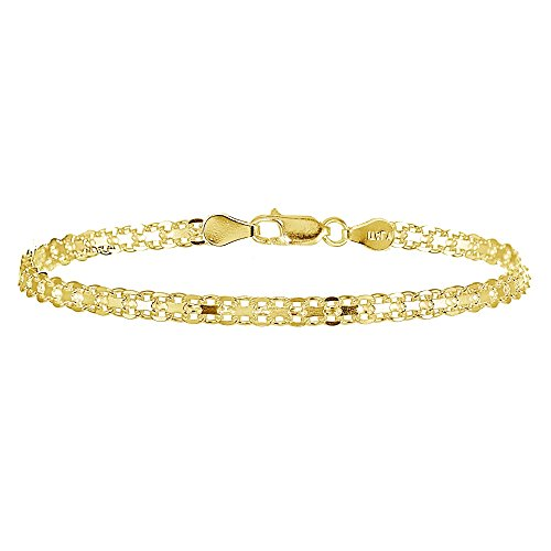 (Yellow Gold Flashed Sterling Silver 4mm Polished Bismark Chain Bracelet )