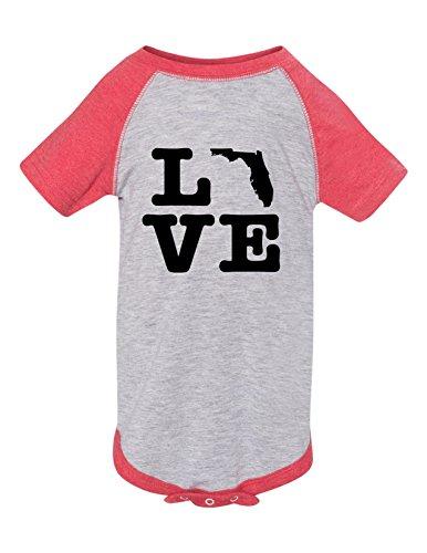 - Florida Love Raglan Printed Infant Bodysuit Baby Romper Raglan Heather Red 18-2.
