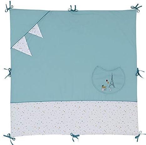 Ptit Basile - colchón parque - alfombra despertar - 100x100 cm - Algodón Bio - con nudos para fijar en ...