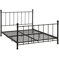 Novogratz Aubrey Metal Bed with Headboard and Foot-board, Adjustable Height (6.5 or 11 clearance for storage), Sturdy Frame with Slats Included, Full Size, Bronze