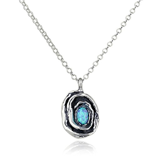 Glimmer Swirl - Stylish Created Blue Fire Opal Rose Pendant 925 Sterling Silver Women's Necklace, 18