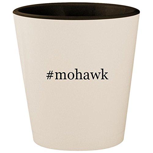Trapper Mohawk Hat - #mohawk - Hashtag White Outer & Black Inner Ceramic 1.5oz Shot Glass