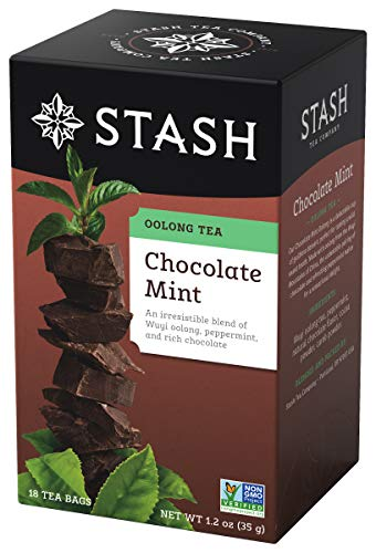 Stash Tea Chocolate Mint Wuyi Oolong Tea 18 Count Tea Bags in Foil (Pack of 6) Individual Black Tea Bags for Use in Teapots Mugs or Cups, Brew Hot Tea or Iced Tea, Fair Trade Certified - Gypsy Tin Zhena