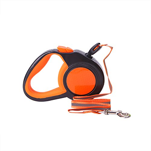 Kimnny Pet Dog Leash, Retractable Dog Leash Automatic Reflective Walking Leads for Small Medium Dogs Orange ()