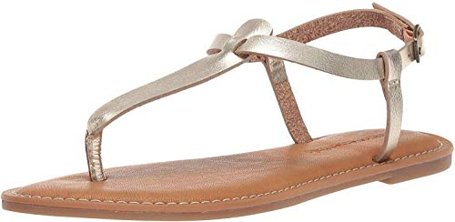 Amazon Essentials Women's Casual Thong with Ankle Strap Sandal, Gold, 10 B US