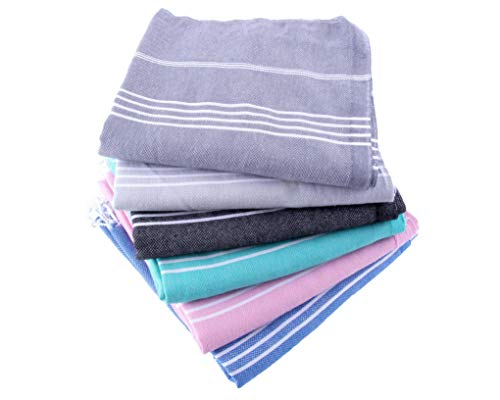 Turkish Towel Set of 6 - Pre-Washed 100% Cotton Turkish Beach Towel, Eco-Friendly, High Absorbent, Extra Soft, Shrink Proof (6, 39'' x 71'' Turkish Towel Set of 6, Displayed Colors) by Fringe Home (Image #9)