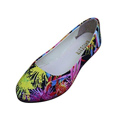Floral Clásico Negro Zapatos Cerrados Zapatos Pumps Mujer Étnicas Estampado Bailarina Plano nFqzpax