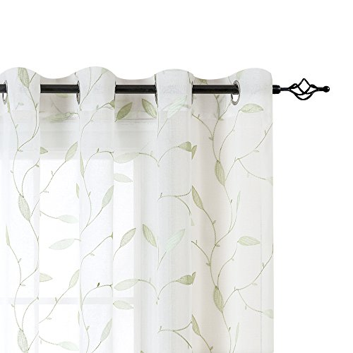 White Leaf Sheer Curtains for Living Room Curtains Floral Leaf Embroidery Voile Sheer Curtains 58