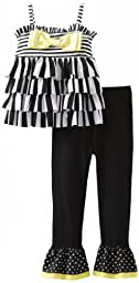 Mud Pie Baby-Girls Infant Striped Tunic And Legging Set, Black/White/Yellow, 12 Months