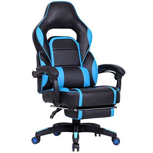 GTRACING High Back Ergonomic Gaming Chair Racing Chair Napping Computer Office Chair with Padded Footrest (Blue)