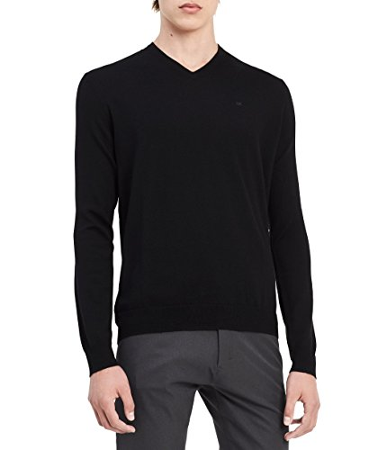 Wool Mens Sweater - Calvin Klein Men's Merino Solid V-Neck Sweater, Black, Small