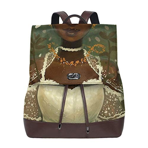 Black Bride In Forest Leather Backpack Women's Genuine Bookbag School Purse Shoulder Bag (White Men Looking For Black Women To Marry)