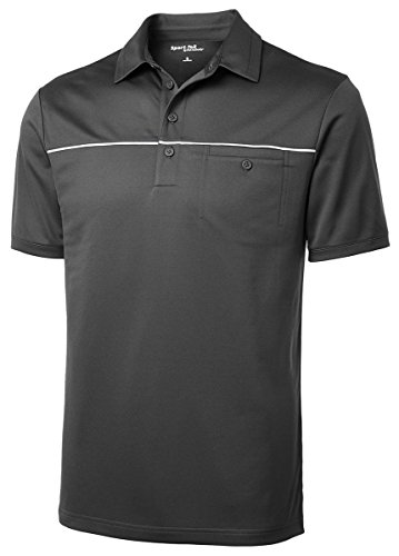 Piped Mesh - Sport-Tek Men's PosiCharge Micro Mesh Piped Polo S Iron Grey/ White