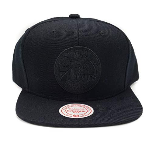 - Mitchell & Ness Philadelphia 76ers Solid Wool Vintage Black Logo Adjustable Snapback Hat