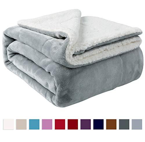 """Nanpiper Sherpa Blanket Twin Thick Warm Blanket for Winter Bed Super Soft Fuzzy Flannel Fleece/Wool Like Reversible Velvet Plush Blanket (Light Grey Twin Size 60""""x80"""")"""