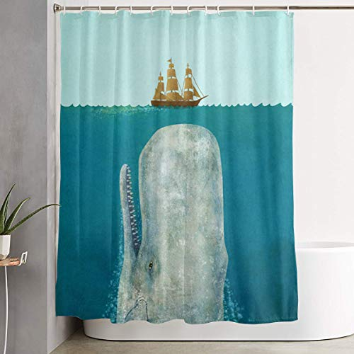 OLOSARO Terry Fan The Whale Shower Curtain Waterproof Bathroom Decor Funny Novelty with Hooks 59.1 X 70.9 Inch
