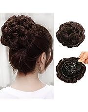 MEIRIYFA Hårsnodd hårknut Updo hårstycke syntetiskt hår hårknut förlängning med klo tillbehör för kvinnor bröllop daglig fest (mörkbrun)